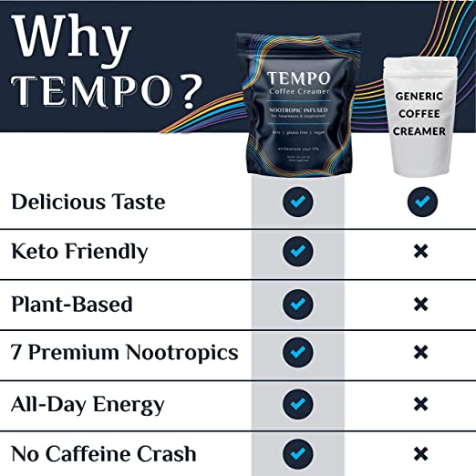 Tempo Keto Coffee Creamer With Mct Oil Fermented Ginseng Energy Vitality Focus Without Caffeine Crash Vegan Clean Ingredients 30 Servings Amazon Com Grocery Gourmet Food