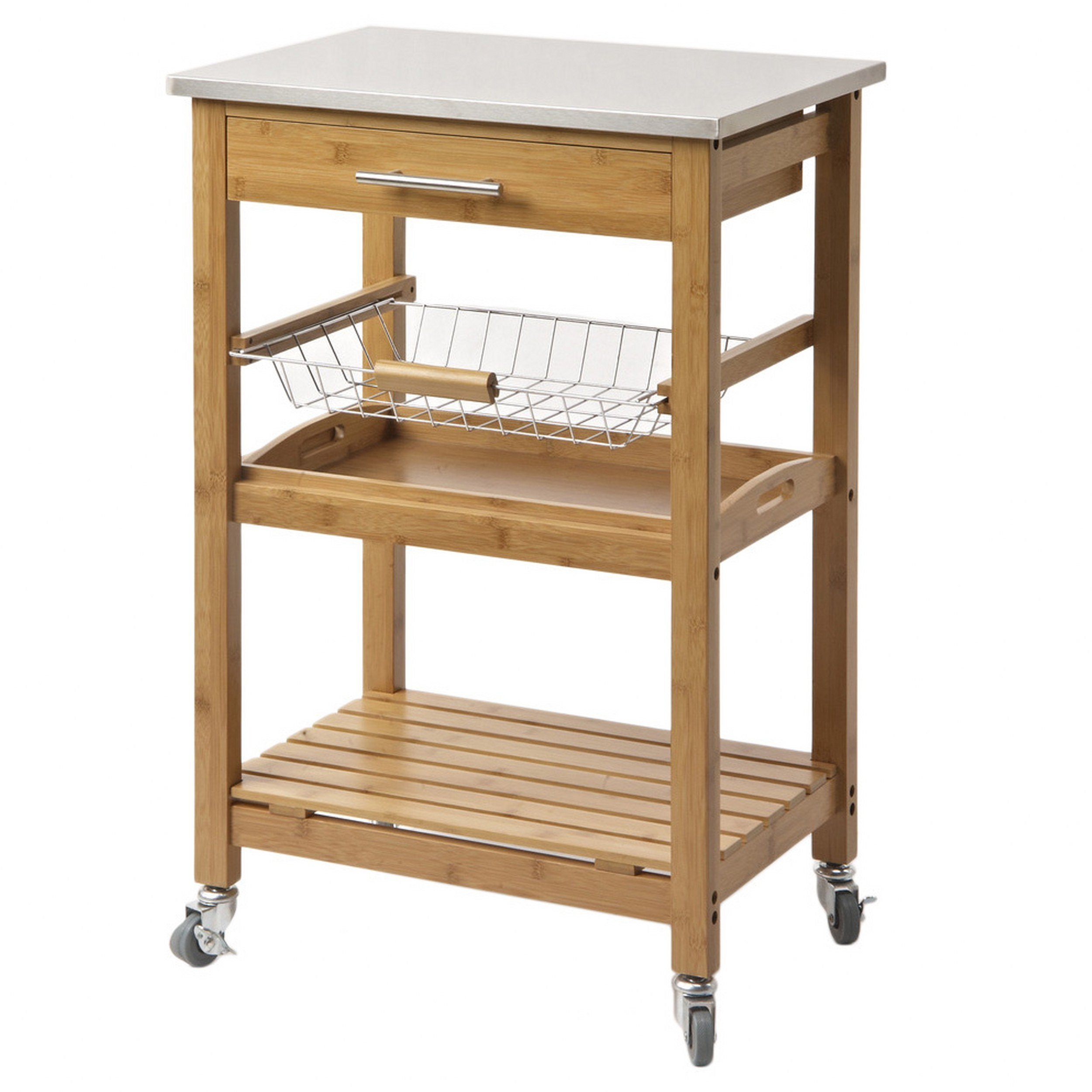 Contemporary Style Bamboo Kitchen Rolling Cart Stainless Steel Top with 1 Pull Out Storage Drawer and Wire Basket and Bottom Shelf | Natural Finish - Includes Modhaus Living Pen