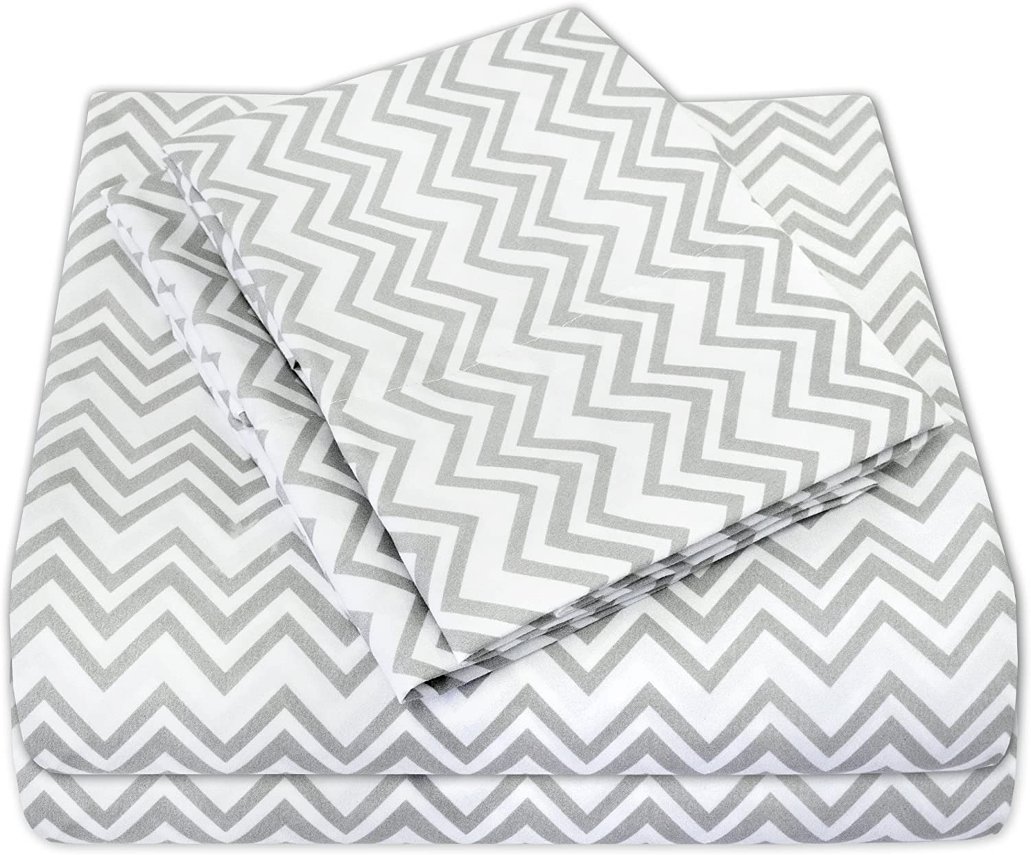 Sweet Home Collection 4 Piece 1800 Thread Count Egyptian Quality Deep Pocket Bed Sheet Set, King, Chevron Gray