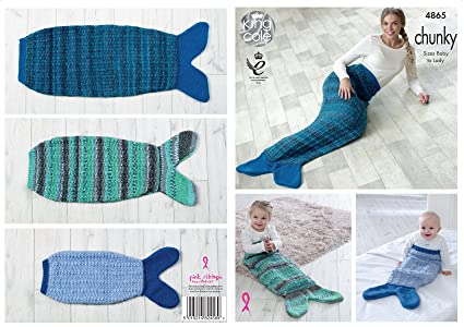 Lady King Cole 4865 Mermaid Blankets Knitting Pattern Sizes Baby