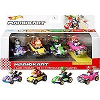 Hot Wheels Mario Kart Primera aparición Pack con 4 Mini Coches de Juguete con Personaje, Regalo para niños +3 años…