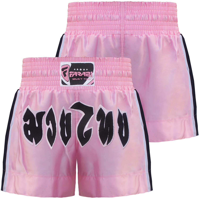 Farabi Muay Thai Kick Boxing Shorts Pink Ladies Female Training Trunks MMA Farabi Sports
