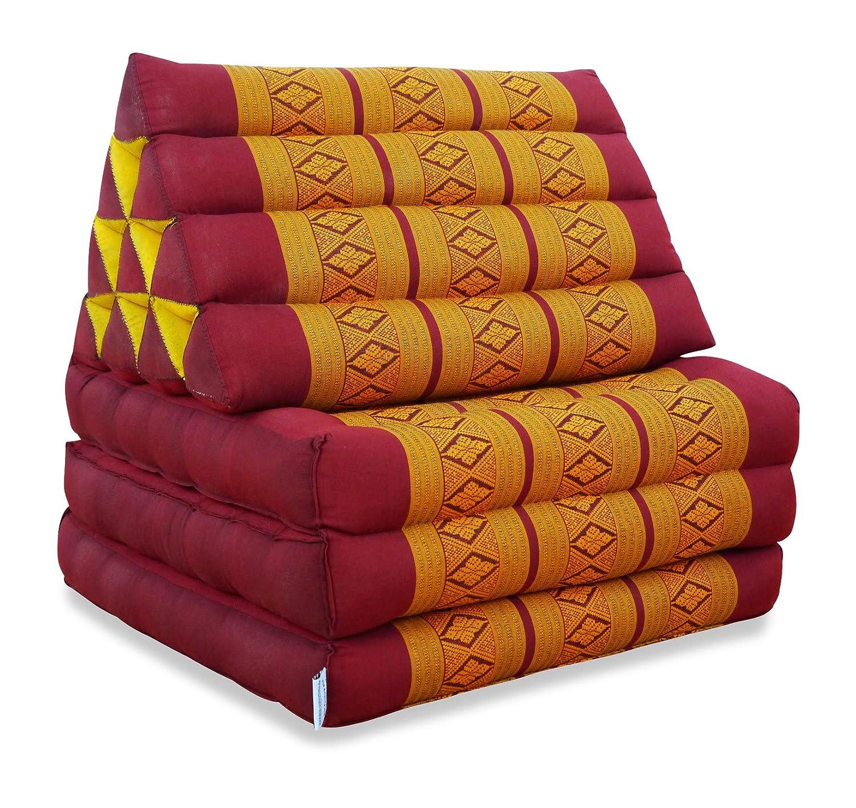 Livasia Thaikissen der Marke Marke Marke Asia Wohnstudio, Thaikissen XXL, Kapok Dreieckskissen, asiatisches Sitzkissen, Liegematte, Thaimatte (Thaikissen 3 Auflagen) 79a33c