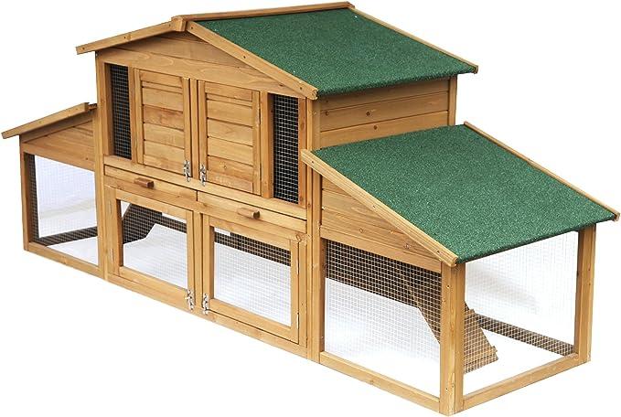 EUGAD Conejera de Exterior Madera Gallinero Jaula para Conejos Cobayas Hámster Caseta Conejo Animales Pequeños Impermeable 2 Niveles, 4 Puertas 230xH99xT74cm 0033HT