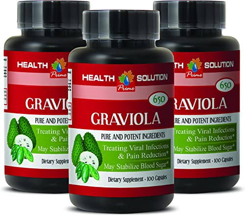 Colon Health Vitamins – Premium GRAVIOLA Extract 650 Mg – Vitamins suppliments – 3 Bottles 300 Capsules
