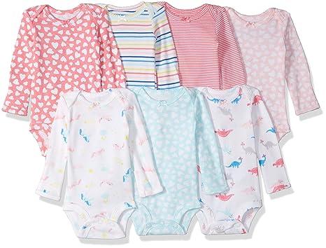 e07275d81 Amazon.com: Carter's Baby Girls' 7-Pack Long-Sleeve Bodysuits: Clothing