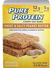 Pure Protein Chewy Oat Bars, Gluten Free, Snack Bar, Sweet and Salty Peanut Butter, 50 gram, 6 Count