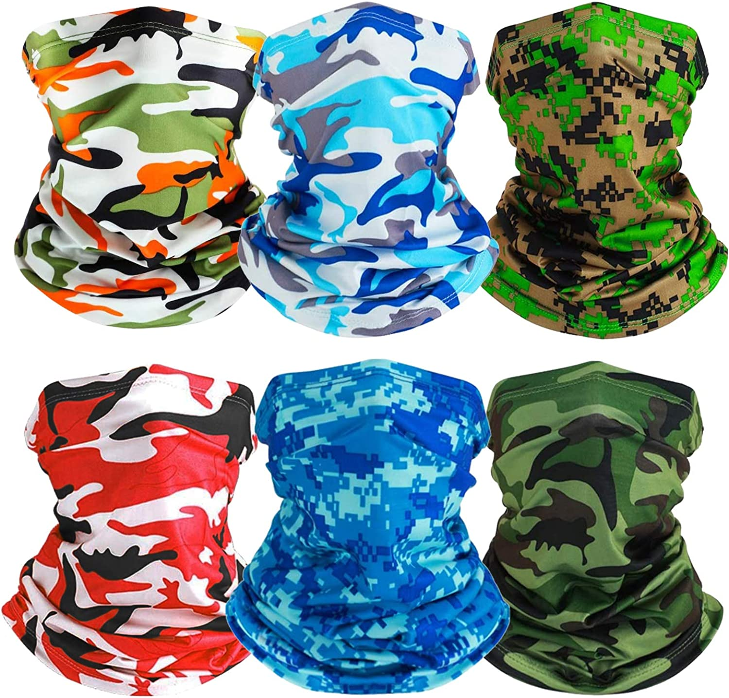 Neck Gaiters UV Protection Travel Face Cover Windproof Scarf Balaclava 6 Pieces