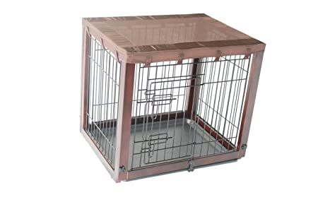 Simply Plus Deluxe Wooden Dog Crate Newly Designed Model , with Slide Tray, Oxford Cloth Top-Medium