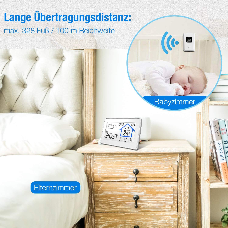 Beautlife Wetterstation Funk mit Außensensor Hygrometer Digital Thermometer Tischuhr Wecker Großes Farbdisplay mit Hintergrundbeleuchtung für Zuhause Büro Schlafzimmer (Weiß)