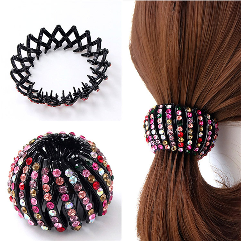 Round Crystal Rhinestone Claw Hair Clip Clamp Unique Ponytail Holder Accessory Y
