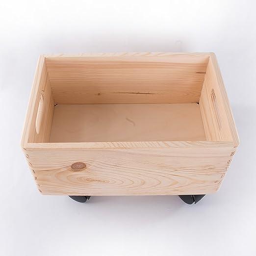 Search Box Pequeño de Madera apilables Caja de Almacenamiento con Asas y Ruedas Caja de almacenaje/organización/-30 cm: Amazon.es: Hogar