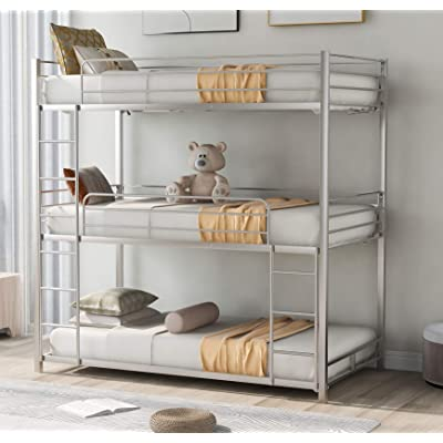 Buy Triple Bunk Beds Twin Over Twin Over Twin Metal Bunk Bed For Kids Teens Adults Girls Boys Silver Online In Indonesia B08y5hcxlf