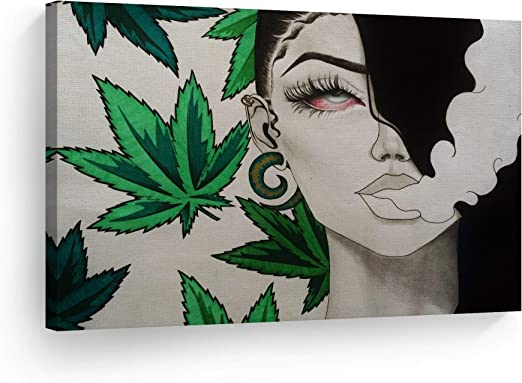 Amazon Com Smileartdesign Smoke Wall Art Canvas Print Girl With Red Eyes Smoking Marijuana Getting High On Weed Home Decor Artwork Living Room Office Decor Ready To Hang Made In The Usa