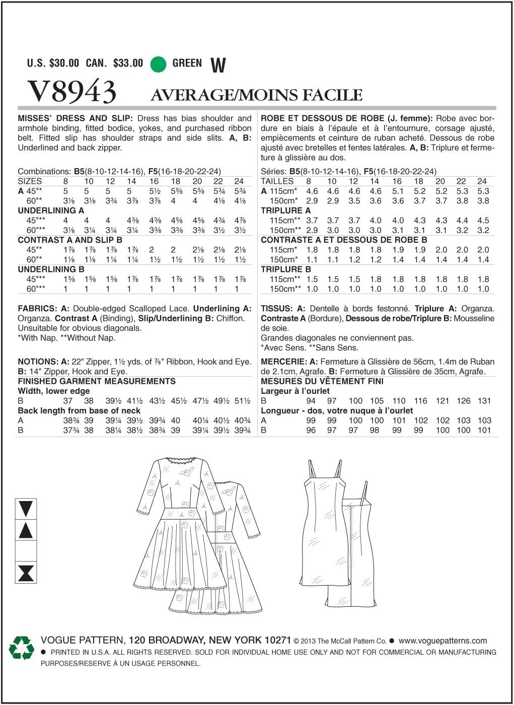 Vogue Patterns V8943 Misses Dress and Slip Sewing Template Size B5