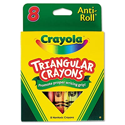 Crayola Anti-Roll Triangular Crayons, Assorted Colors 8 ea: Kitchen & Dining