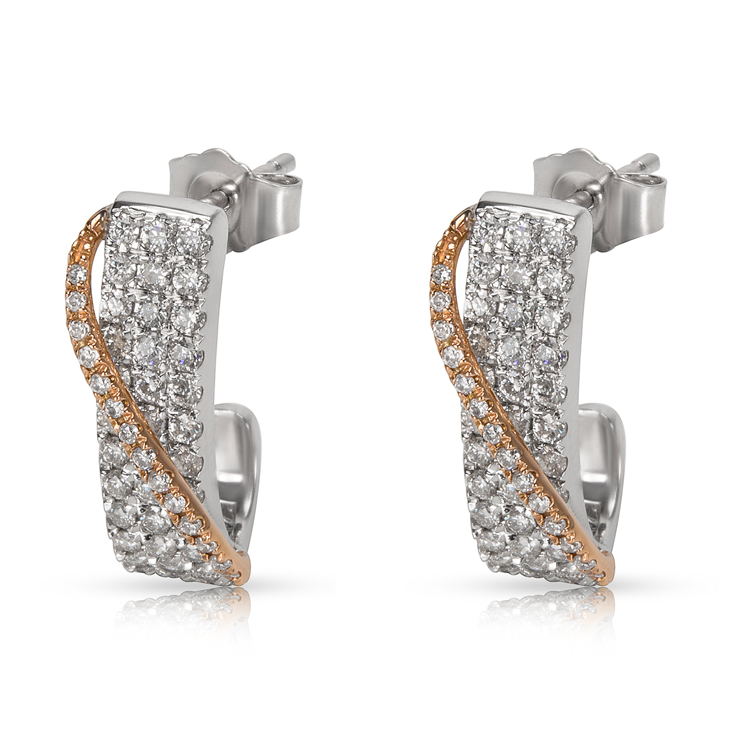 BRAND NEW Pave Diamond Cross Over Earrings in 14K Two Tone Gold (1.00 CTW)