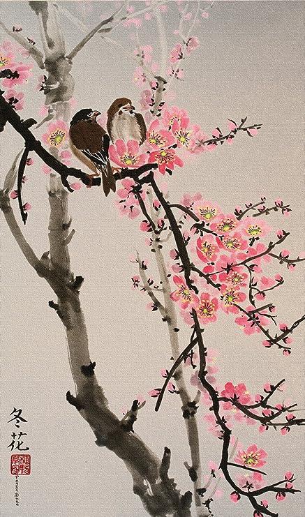 Amazon peggy duke love birds on the cherry blossom tree peggy duke love birds on the cherry blossom tree colored background giclee print on mightylinksfo