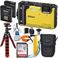 Nikon COOLPIX W300 Digital Camera (Yellow) with Deluxe Accessory Bundle - Includes: Sandisk 64GB Ultra Memory Card - Extended Life Replacement Battery EN-EL12 & Much More (International Version)