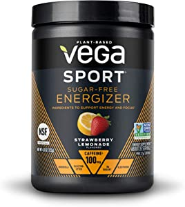 Vega Sport Sugar Free Energizer, Strawberry Lemonade - Vegan Certified, Keto-Friendly, Gluten Free, Dairy Free, Soy Free, Non GMO, Natural Pre Workout Powder (35 Servings)