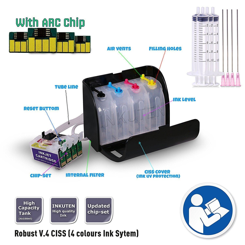 INKUTEN – CISS連続インク供給システムfor Workforce wf-3640プリンタ( for昇華インク、熱転送印刷 B0735HWWGL