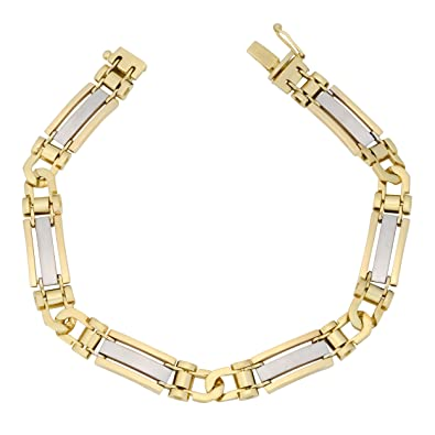 a7b1d72c332 Amazon.com: Kooljewelry 10k Two-Tone Gold Designer Mens Bracelet ...