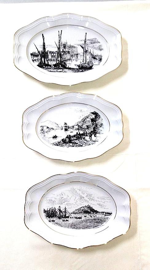FranquiHOgar Juego 3 fuentes Carlos IV. Porcelana Bidasoa.