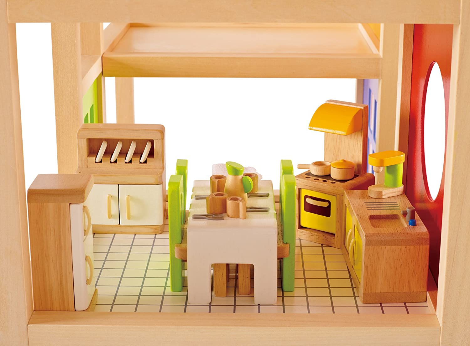 Kitchen Dollhouse Furniture Amazoncom Hape Wooden Doll House Furniture Kitchen Set With