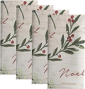 "Elrene Home Fashions Holiday Tree Trimmings Napkin Set of 4, 17"" x 17"", Multi"