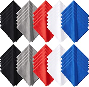 50 Pieces Microfiber Cleaning Cloths 7 x 6 Inch Screen Cleaning Cloths for Smart Phones Laptops Tablets Lens LCD Monitor TV Camera Eyeglasses Optical Cleaning Cloths (Black, White, Gray, Red, Blue)