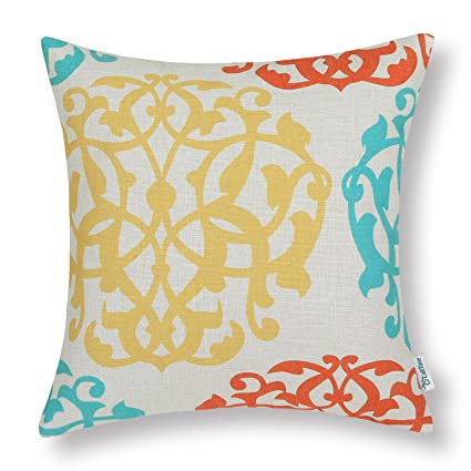 Wondrous Calitime Canvas Throw Pillow Cover Case For Couch Sofa Home Decoration Three Tone Floral Compass Geometric 20 X 20 Inches Turquoise Yellow Orange Creativecarmelina Interior Chair Design Creativecarmelinacom