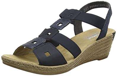 | Rieker Womens Wedge Heeled Open Toe Sandals