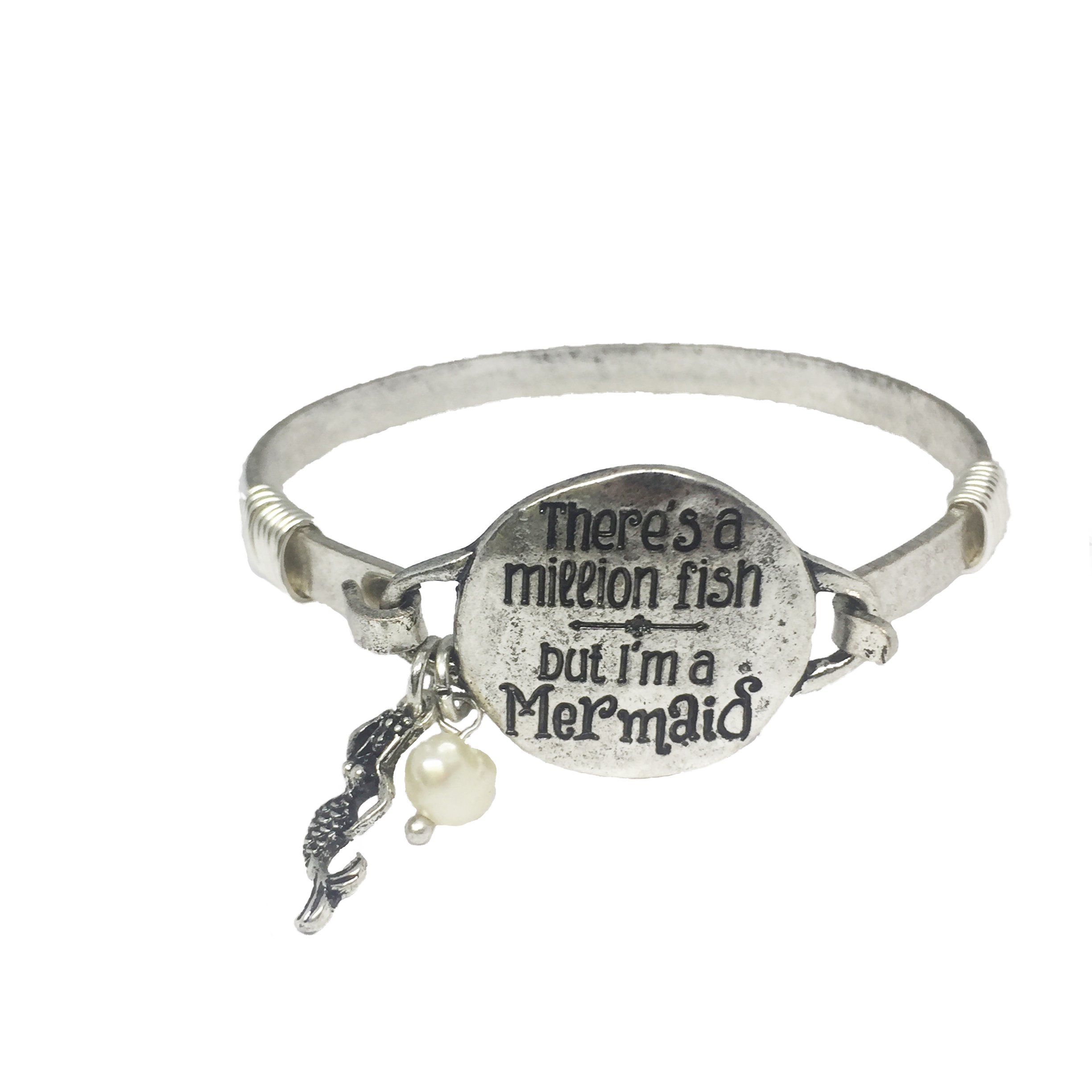 There's a Million Fish But I'm a Mermaid Summer Vacation Beach Vintage Silver Bangle Bracelet with Mermaid Charm and Bead