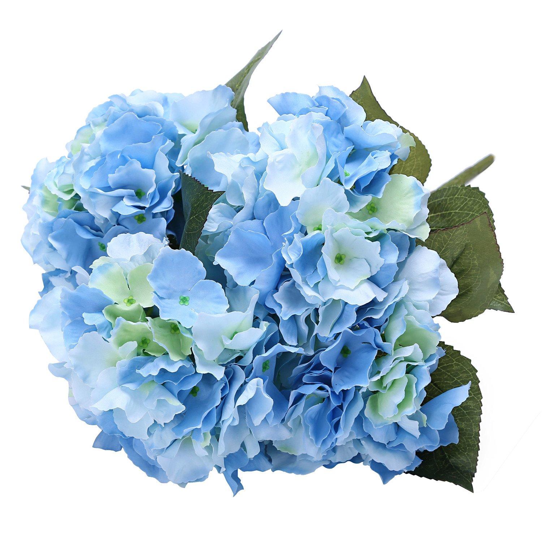 Amazon houda artificial silk hydrangea bouquet fake flowers amazon houda artificial silk hydrangea bouquet fake flowers arrangement home wedding decor light blue home kitchen izmirmasajfo