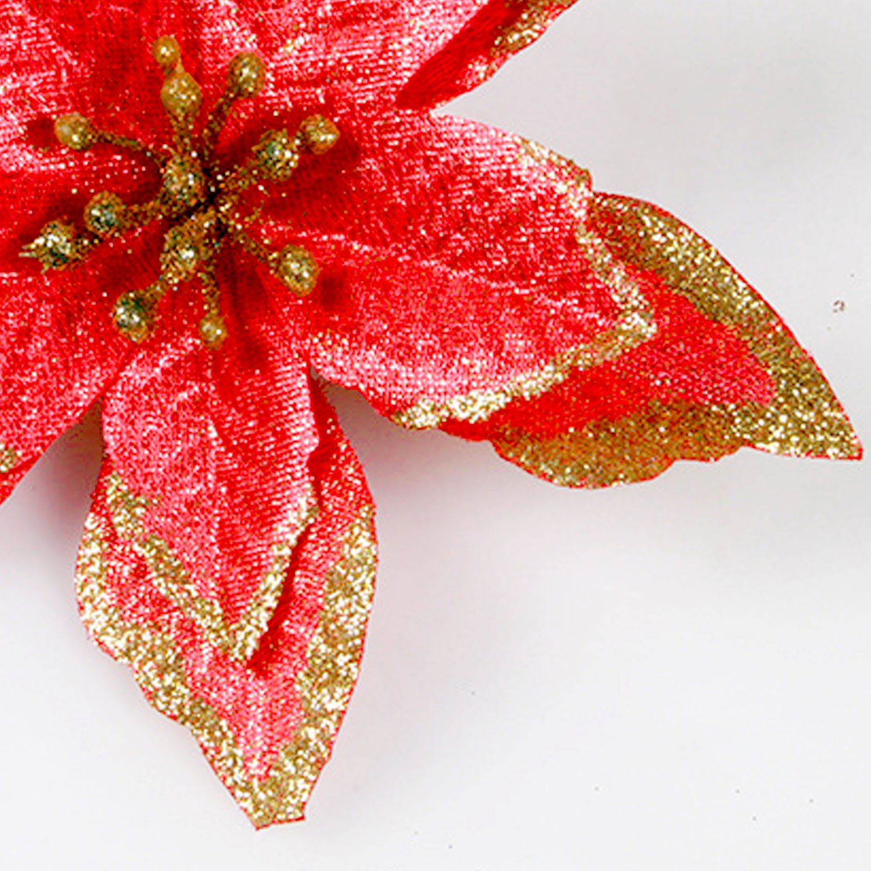 Fleurs Darbre de No/ël 10 PCs No/ël Paillettes Fleurs Artificielles Ornements D/écorations pour Arbre de No/ël Couronnes F/ête de Mariage Rouge