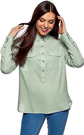 oodji Ultra Mujer Camisa de Algodón con Bolsillos en el Pecho: Amazon.es: Ropa y accesorios