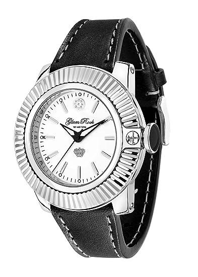 Glam Rock Relojes Unisex Reloj de Cuarzo con Esfera analógica Blanca y Negro Correa de Piel