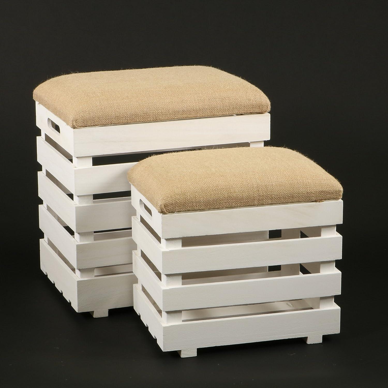 DECOMANIA - Ensemble aus 2 Hockern mit Kissen ineinander verstaubar - Aufbewahrungsmöglichkeit - Stil Holzkiste - Farbe WEiß und BEIGE