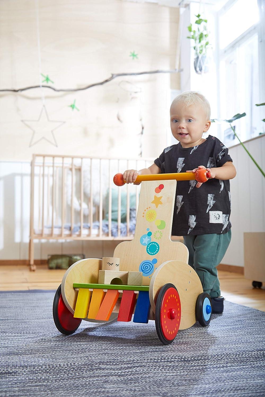 inklusive Transportsitz Quietsche und Klappereffekt HABA 304793 Babyspielzeug ab 10 Monaten Lauflernwagen Klackerflitzer mit justierbarer Bremse f/ür sicheres Laufenlernen