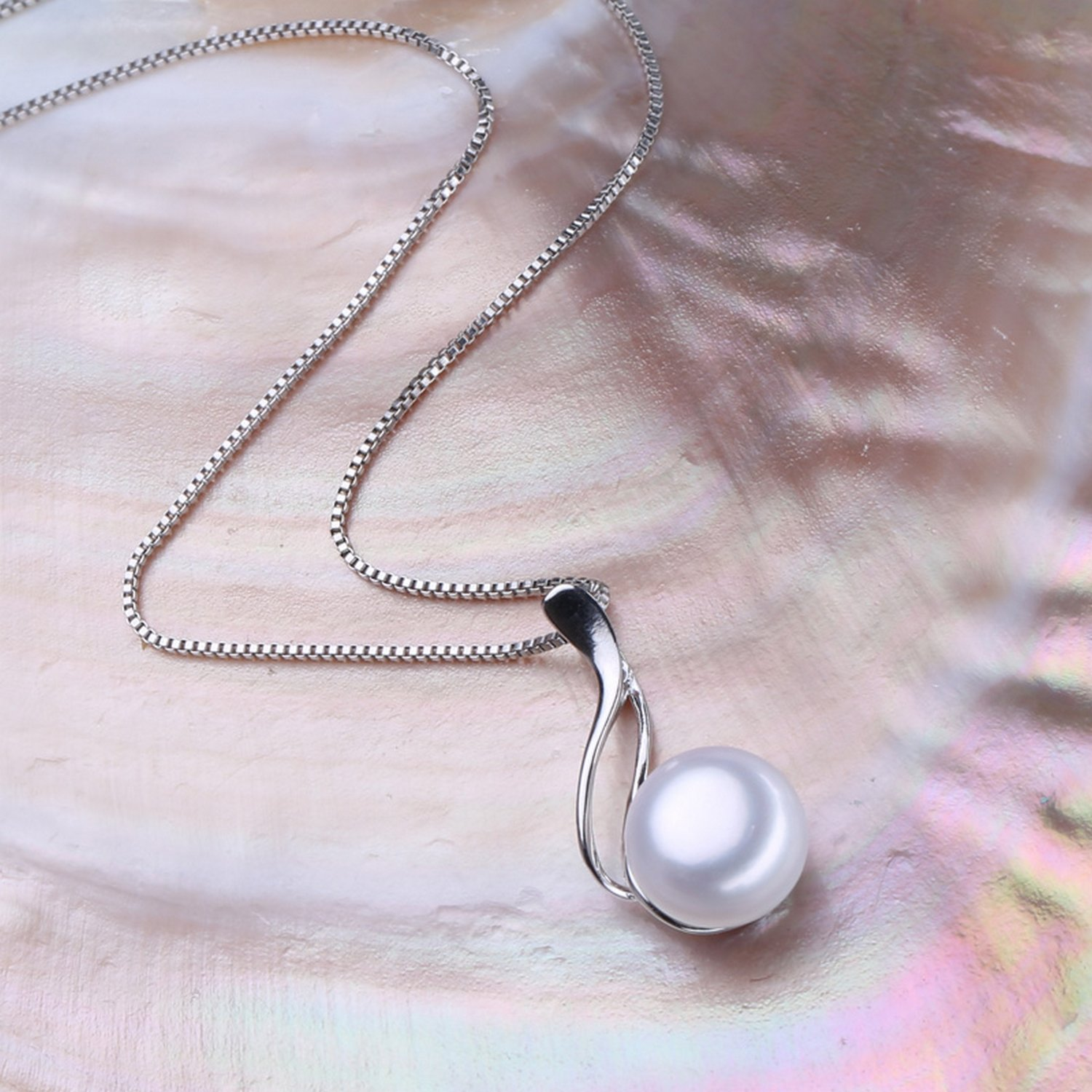 CS-DB Jewelry Silver Big Pearl Trendy Chain Charm Pendants Necklaces