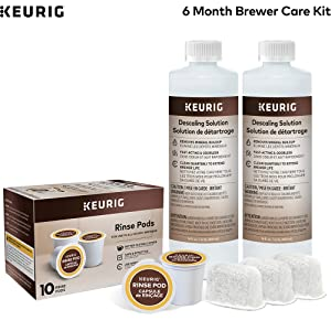 Keurig 6-Month Brewer Maintenance Kit, Includes Descaling Solution, Water Filter Cartridges & Rinse Pods, Compatible with Keurig Classic/1.0 & 2.0 K-Cup Pod Coffee Makers, 14 count