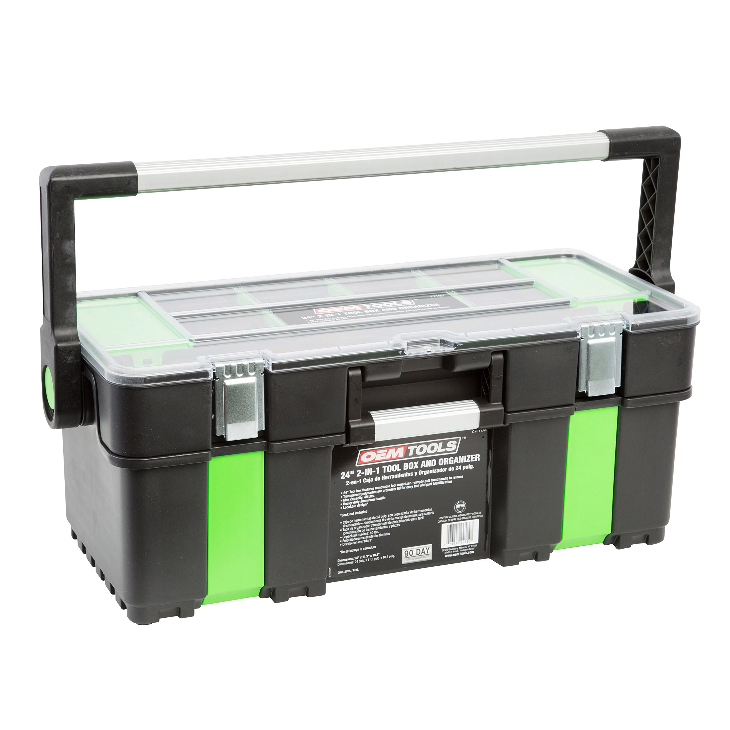 Tool Box with Removable Tool Tray by OEMTOOLS