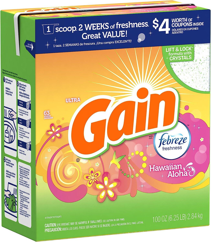 Gain Ultra with Freshlock Febreze Hawaiian Aloha Powder Detergent 63 Loads 100 Oz