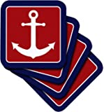 3dRose Red White and Blue Nautical Anchor Design - Soft Coasters, Set of 4 (cst_165796_1)