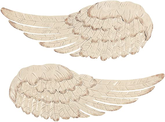 Off White Metal Angel Wing Wall Decor Set Of 2 Amazon Ca Home Kitchen
