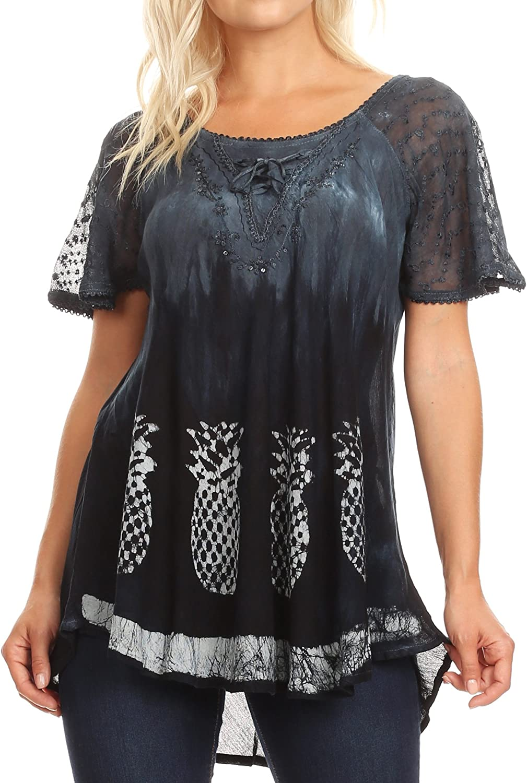 Sakkas Ivanna Womens Short Raglan Lace Sleeve Flowy Top Blouse Tie-dye & Batik