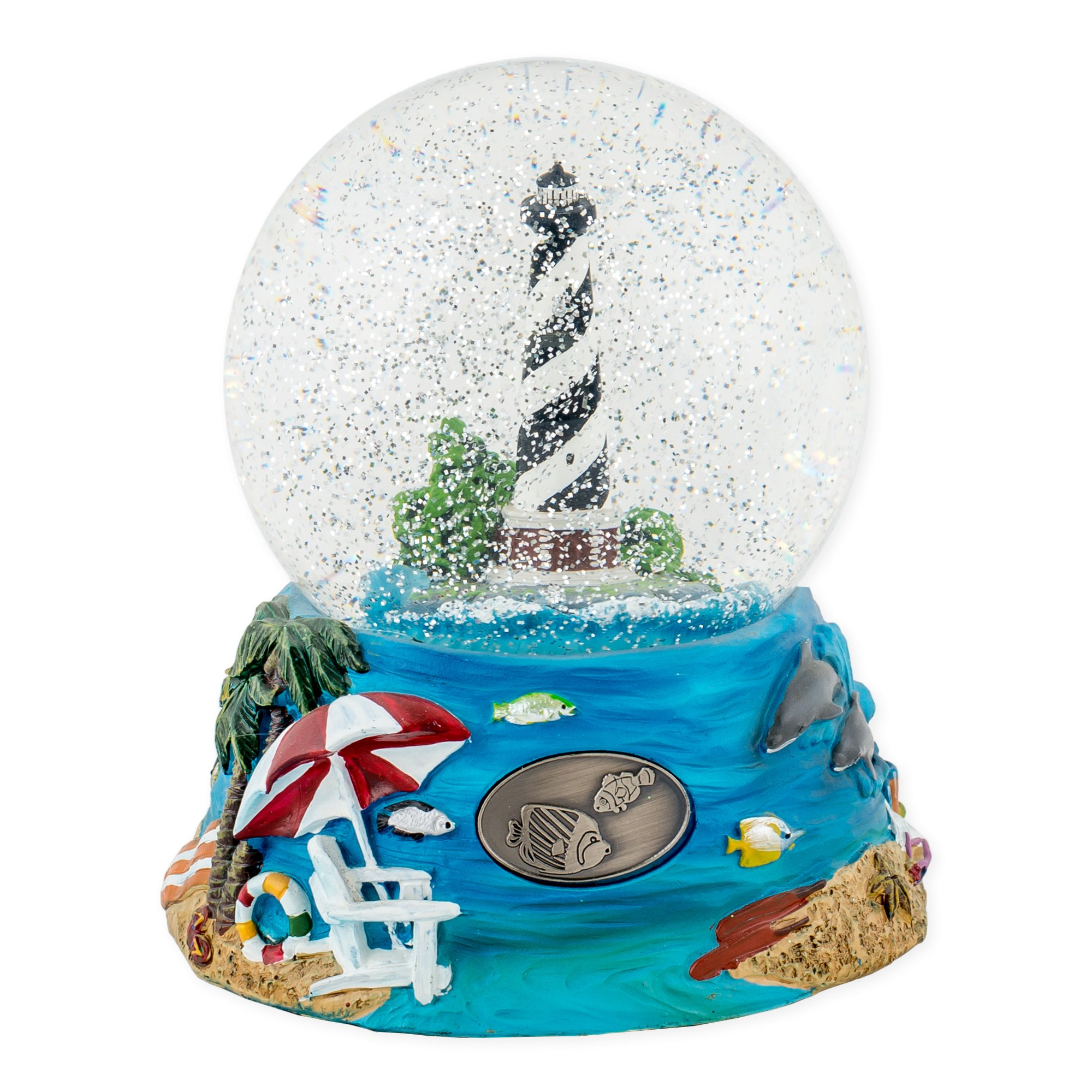 Nautical Lighthouse 100mm Resin Glitter Water Globe Plays Tune Over The Waves