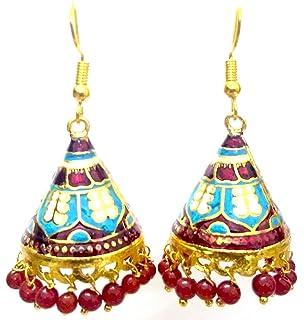 DESI HAWKER Meenakari Minakari Enamel Paint Golden Handmade Earring Bali Jhumki Jhumka Jewelry Bollywood Indian Ethnic Drop Dangle Chandelier NI-217