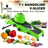 Ubesto 7-in-1 Mandoline Food Slicer with Stainless Steel Blades for Slicing, Dicing, Cubing and Julienne - Fruit Slicer - Vegetable Slicer - Vegetable Cutter - Cheese Slicer - Julienne Slicer