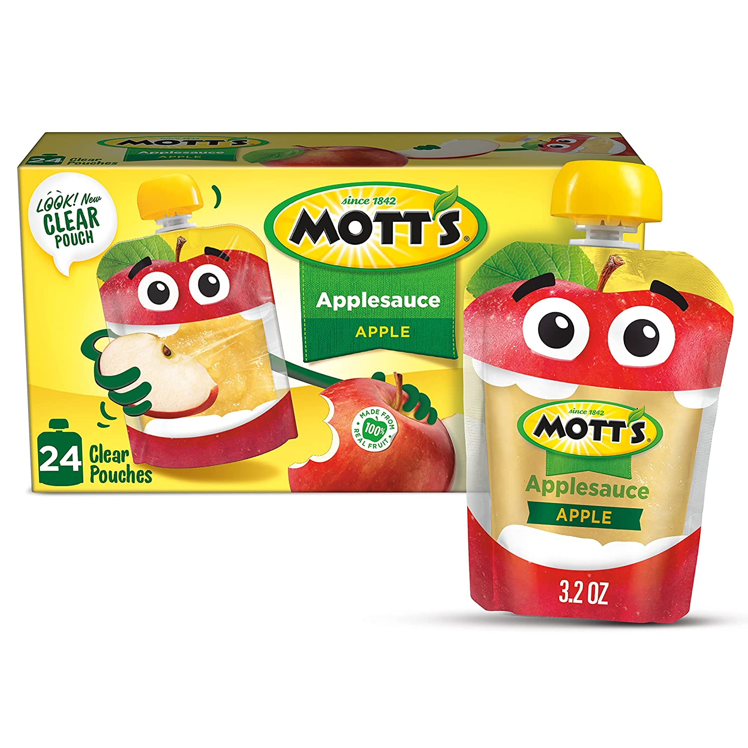 Mott's Applesauce, 3.2 Ounce Pouch, 4 Count (Pack of 6)